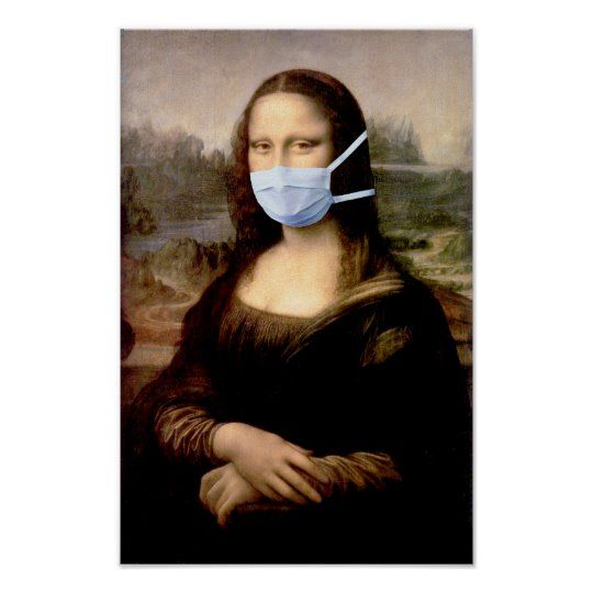 Flu Season Mona Lisa with Mask Poster | Zazzle.com