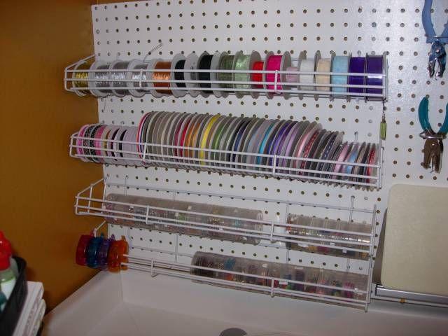 Peg Board Ribbon Embellishment Organizer By Stampinat6213