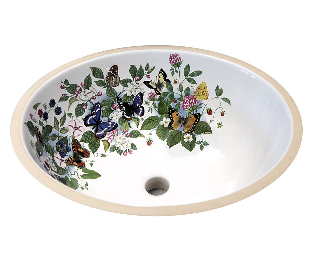 Bathroom Sinks Made In Usa colorful butterflies, flowers and fruit painted on a white