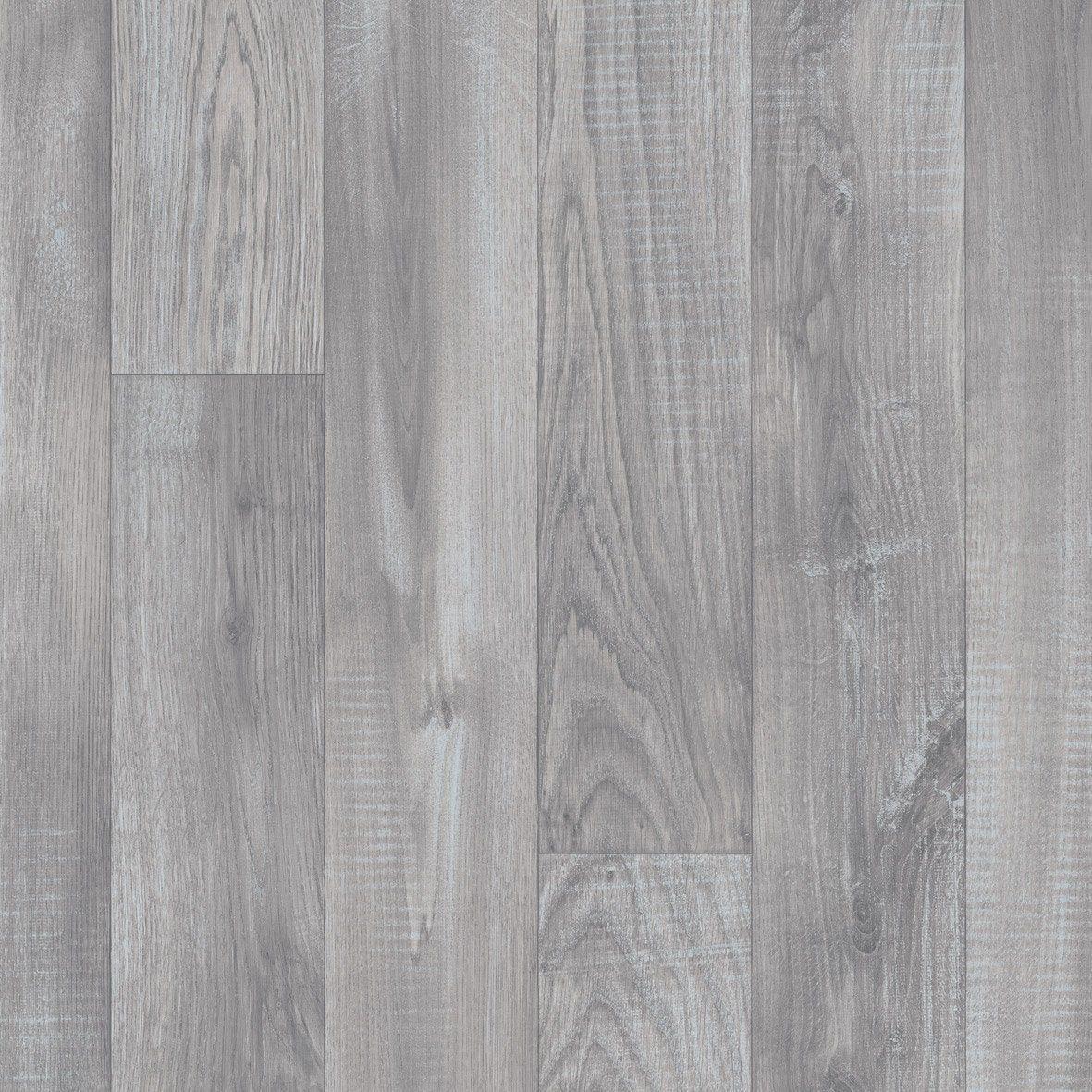 Sol PVC effet parquet gris / argent alba Livraison incluse l.8 m