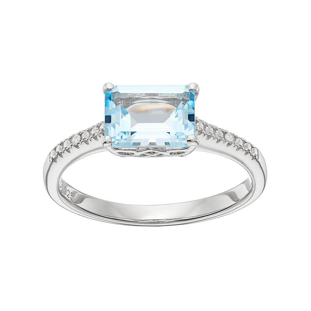 Damiani Square 2.11 Blue Topaz & Diamond Ring, Size 7
