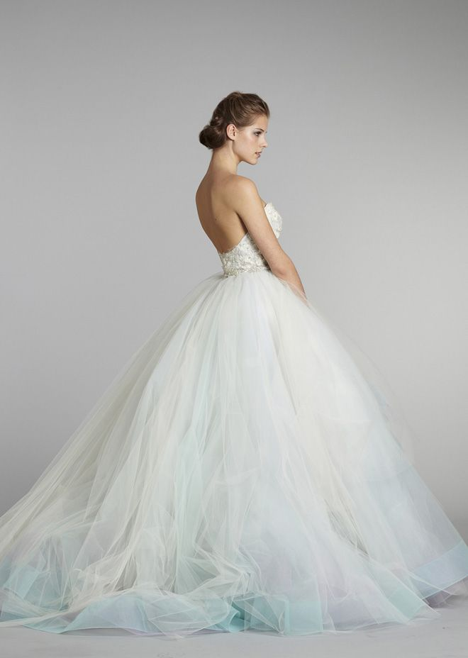 Lazaro wedding dress with a touch of blue. | Wedding Dresses ...