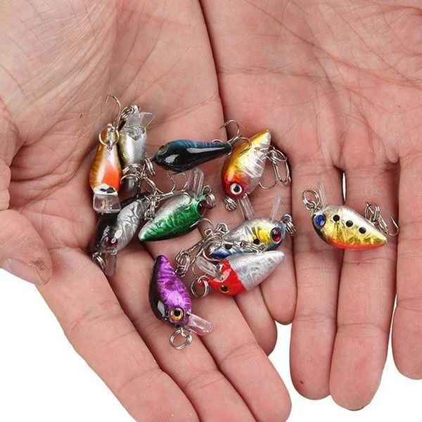 Lot 10 Pcs Fishing Lures Kinds Of Minnow Fish Bass Tackle Hooks Baits Crankbait