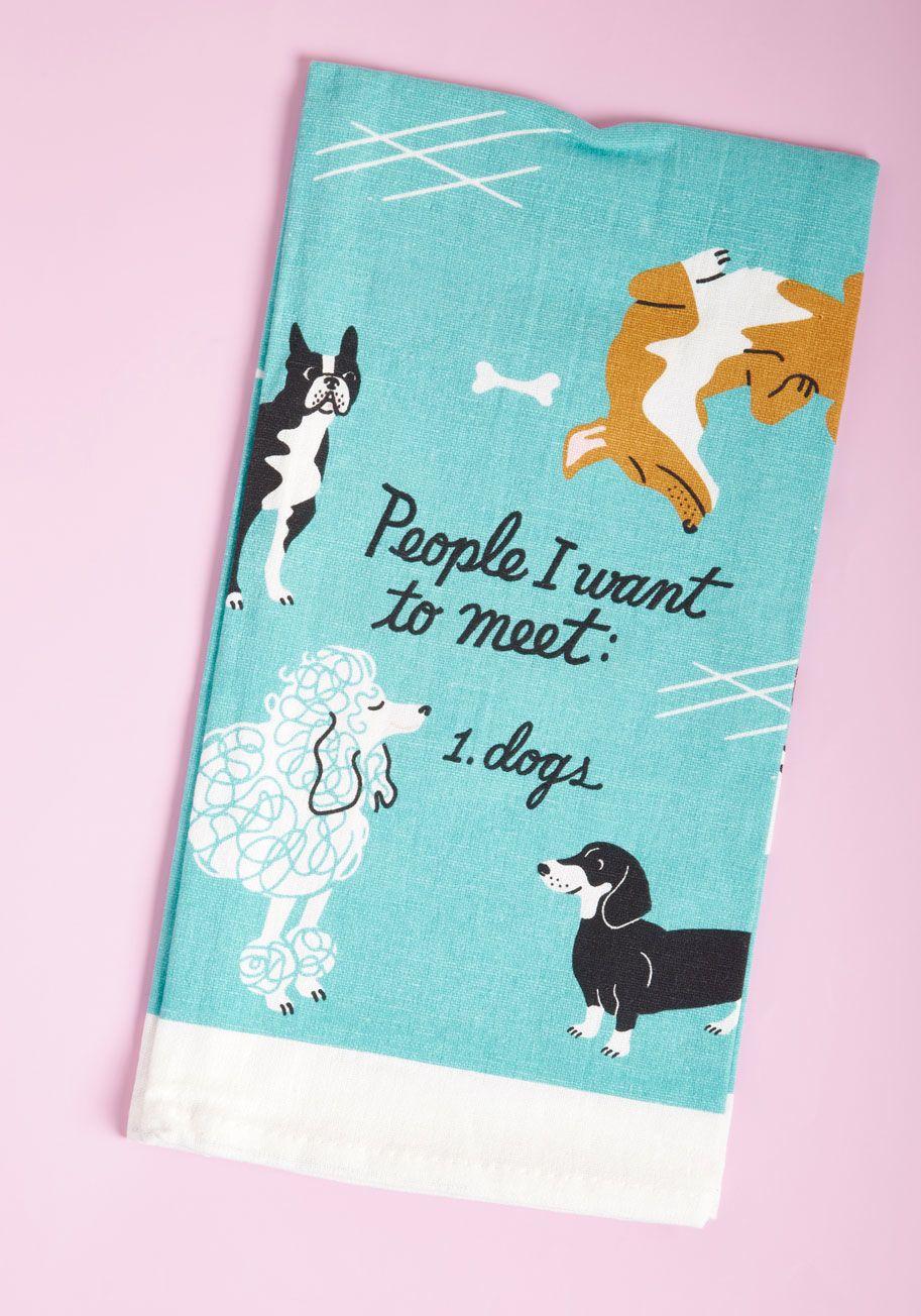 Canine Acquaintances Tea Towel | Dog pattern, Towels and Kitchen ...