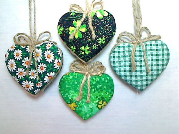 Green Heart Ornaments  St Patrick's Day  Holidays  by byEmilie11