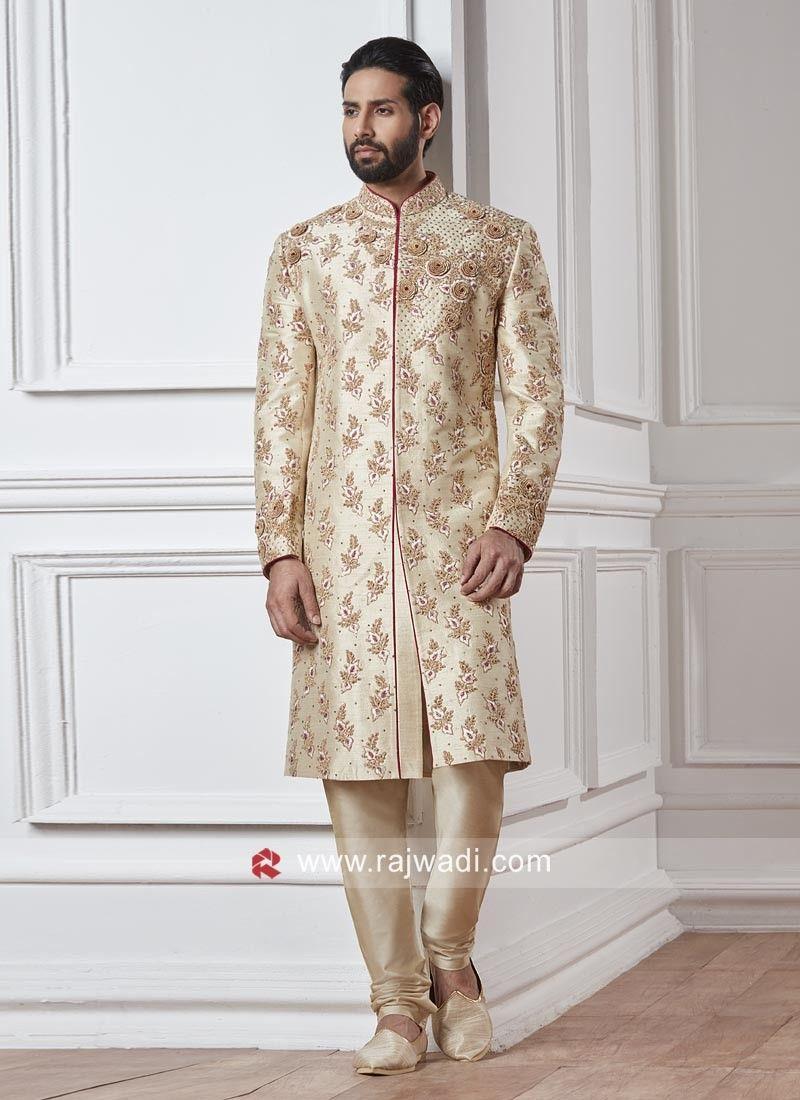 indian handmade mens sherwani for groom with silk chudidar and dupatta all set