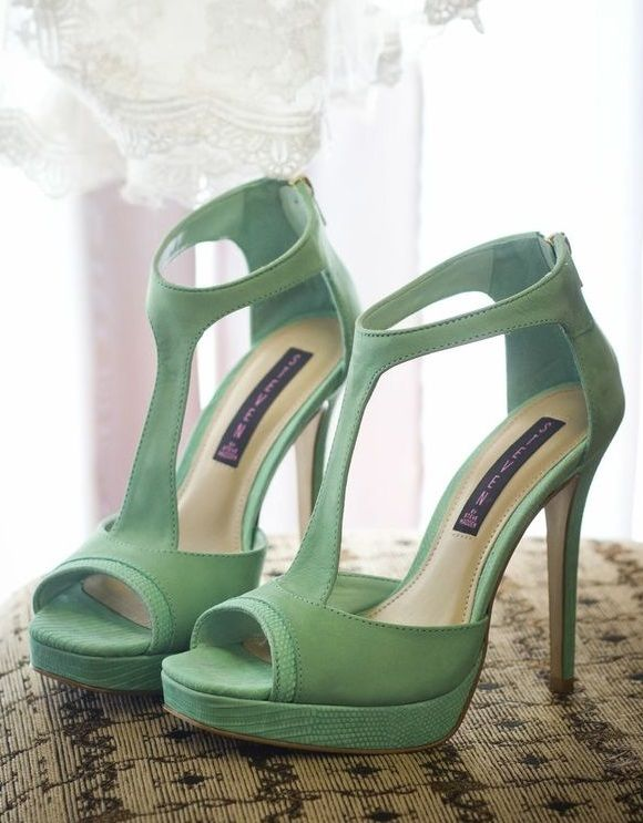 Mint T-Strap Peep-Toe Platform Wedding Shoes by Steve Madden. Found ...