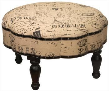 Vintage Look Paris Themed 30 Inch Diameter Ottoman Foot Stool Contemporary Ottomans And Cubes Things2d Paris Room Decor Large Round Ottoman Round Ottoman