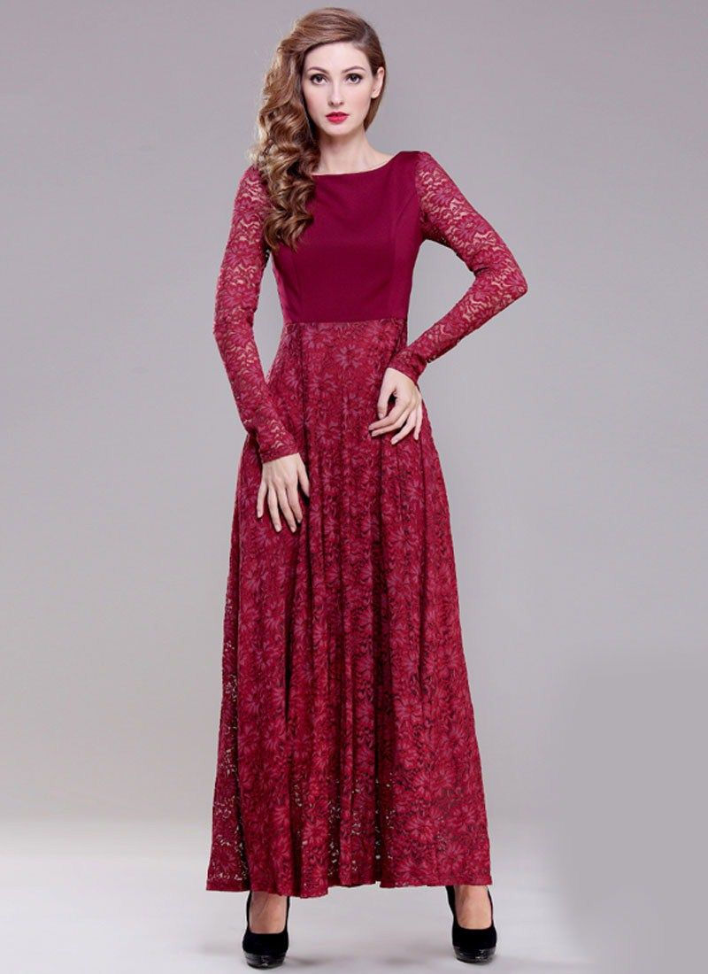 Gorgeous Red Lace Maxi Dress Collection for Party | Long Sleeve ...