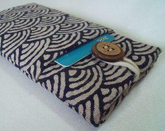Samsung S4 sleeve, Samsung S4 pouch, Samsung S4 cover with pocket & button - Japanese Sashiko waves indigo cotton