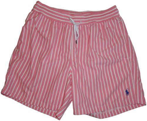 2aa71f915 Polo by Ralph Lauren Men s Swim Trunks Bathing Suit Pink with White Stripes  (XXL)