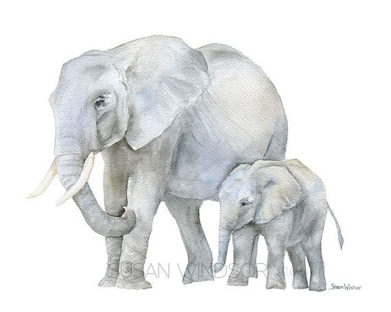 Elephants Watercolor Painting – Giclee Print Reproduction – Nursery Art – Mother and Baby