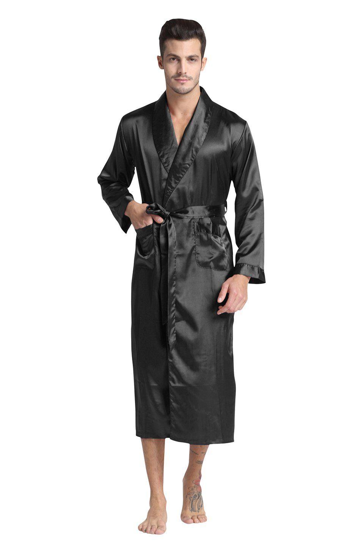 Elegant Soft Silk Satin Mens Robe Gown Long Sleeve Long Bathrobe Lightweight Belt Pockets Pajamas Black