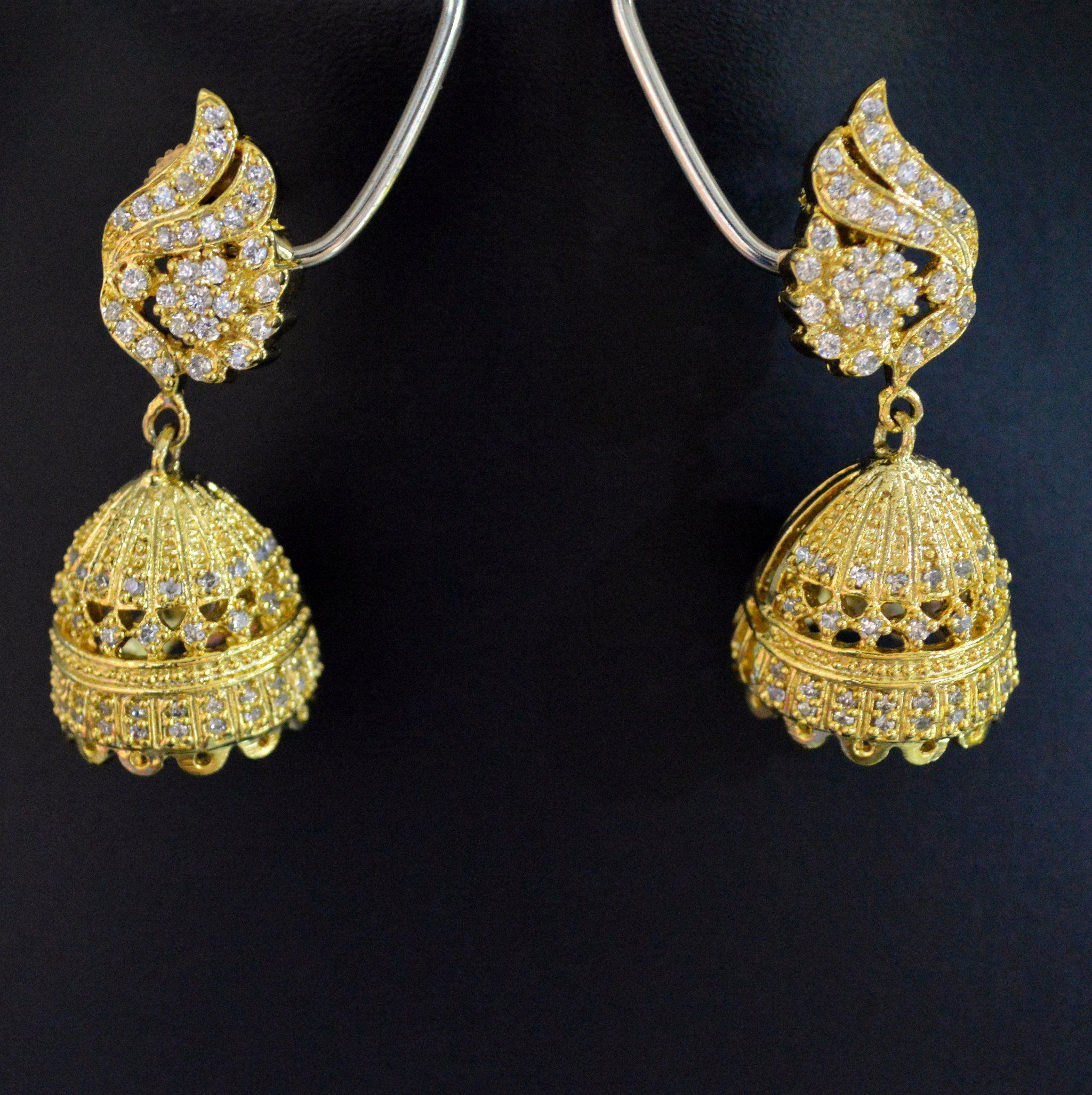 white classical american design diamond golden color studded with earrings long string