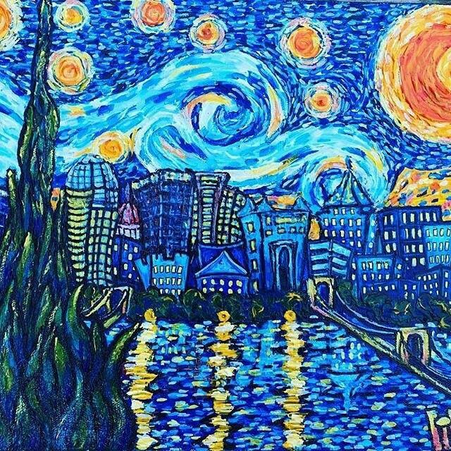 Starry Night Van Gogh Painting Art City Scape Starry Night Van