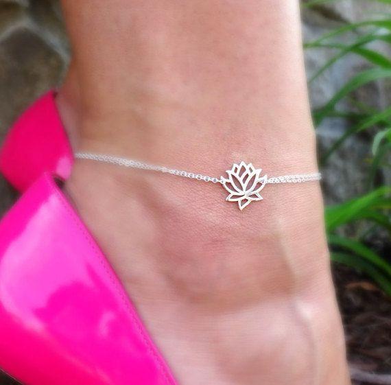 sterling silver lotus anklet silver lotus ankle bracelet TggbXSUyr5