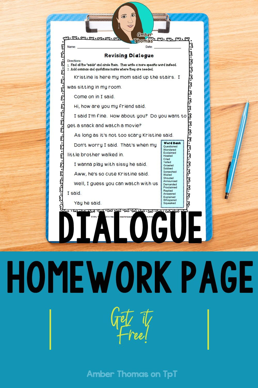 Revising Dialogue Homework or Printable Distance Learning Page   Elementary  writing lessons [ 1500 x 1000 Pixel ]