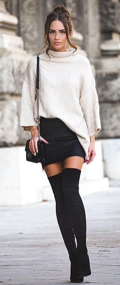 #winter #outfits white long-sleeved dress