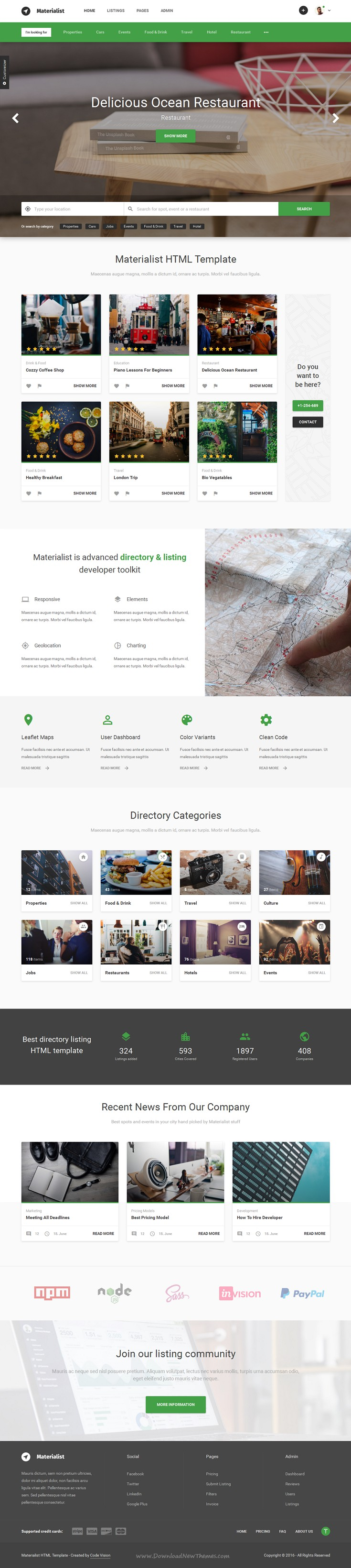 materialist is modern directory bootstrap html and material design