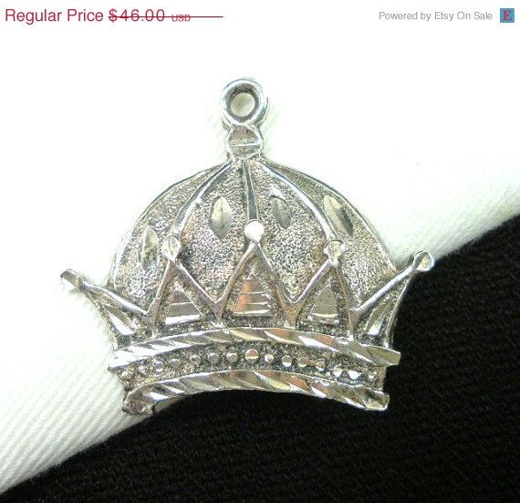Vintage Sterling Silver Crown Pendant Royal by GreenDesertArt, $36.80