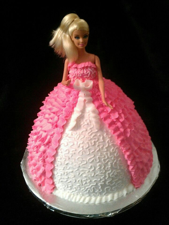Stand Up Barbie Cake With Buttercream Icing With Images