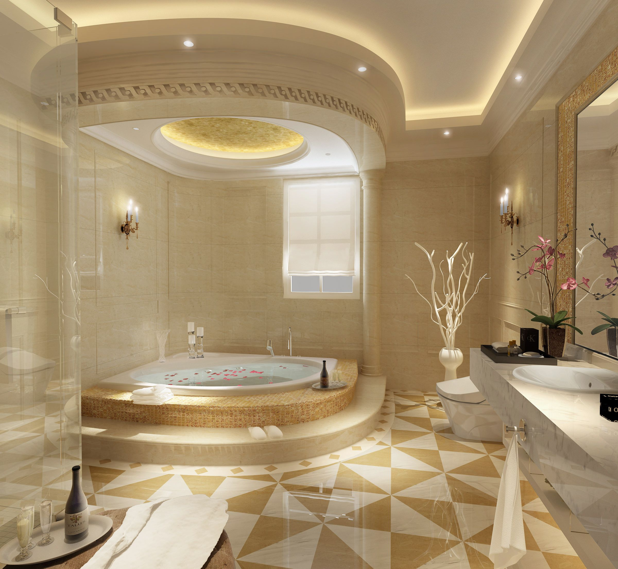 Bathroom Large And Luxury Bathroom Idea With
