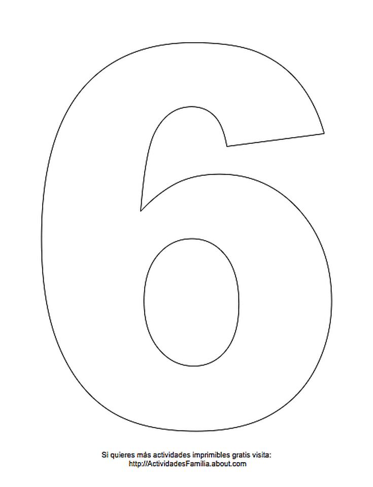 Dibujos de números para colorear: Número 6 para colorear | αριθμοί ...