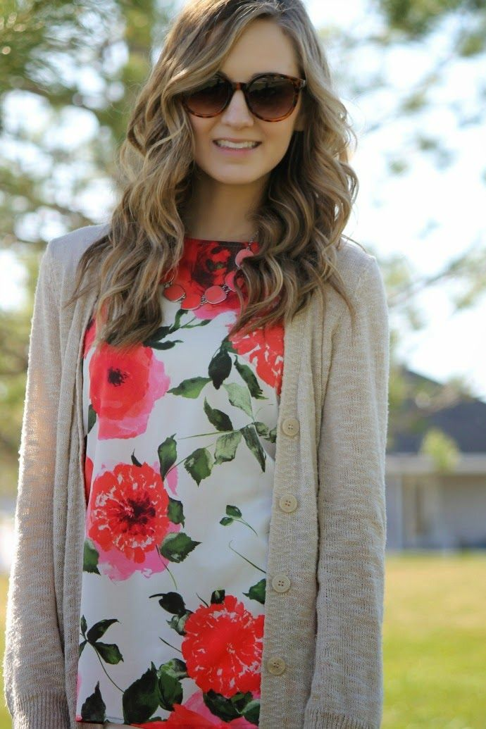 spring outfit ... sweater, florals and statement Grace Adele jewelry