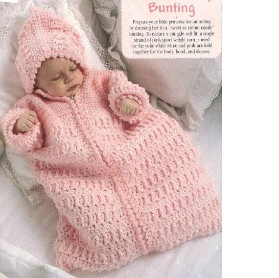 PDF PATTERN Crochet Baby Bunting Pink Dreams | knitting | Pinterest ...