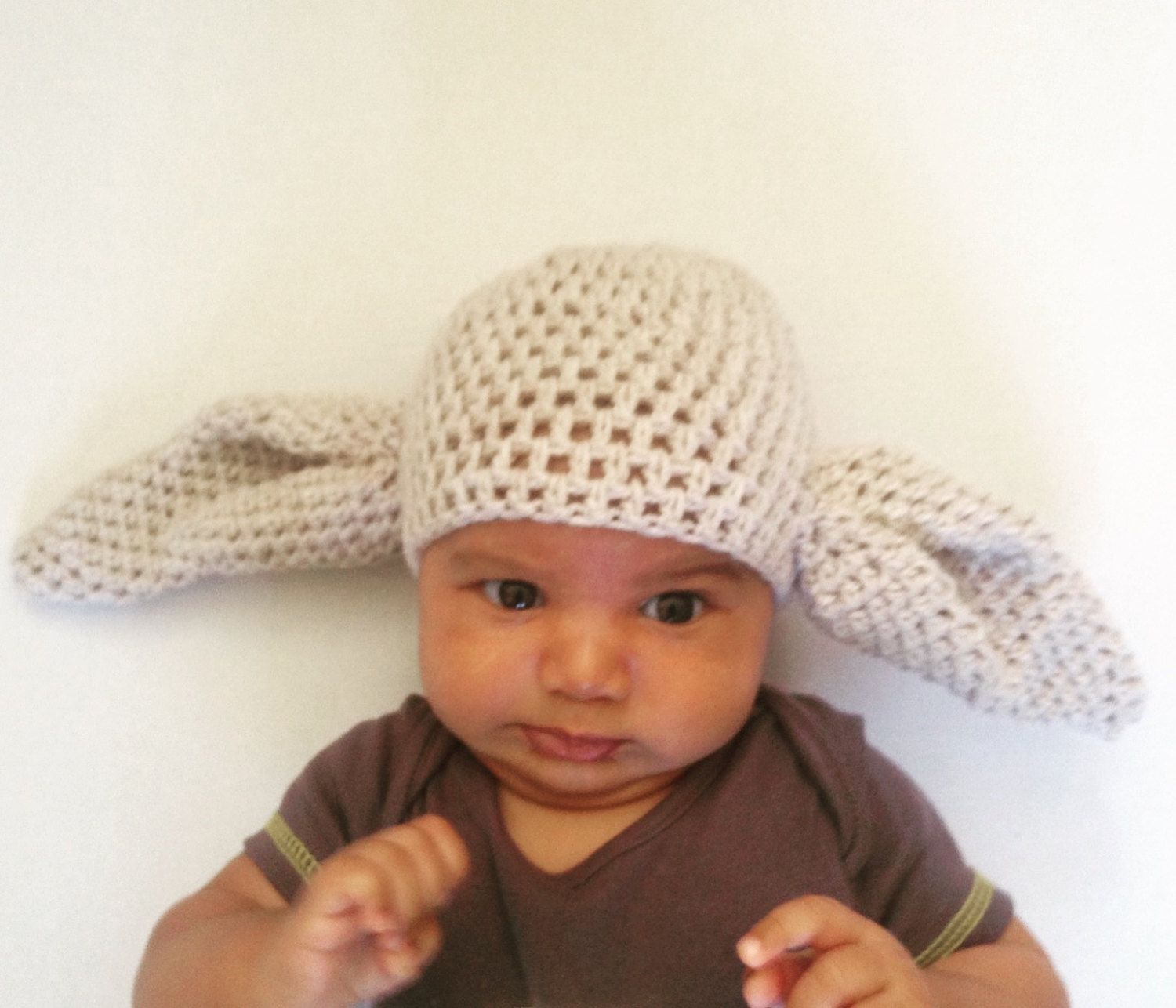 Crochet big ears hat, dobby hat, yoda hat, crochet beanie, novelty ...