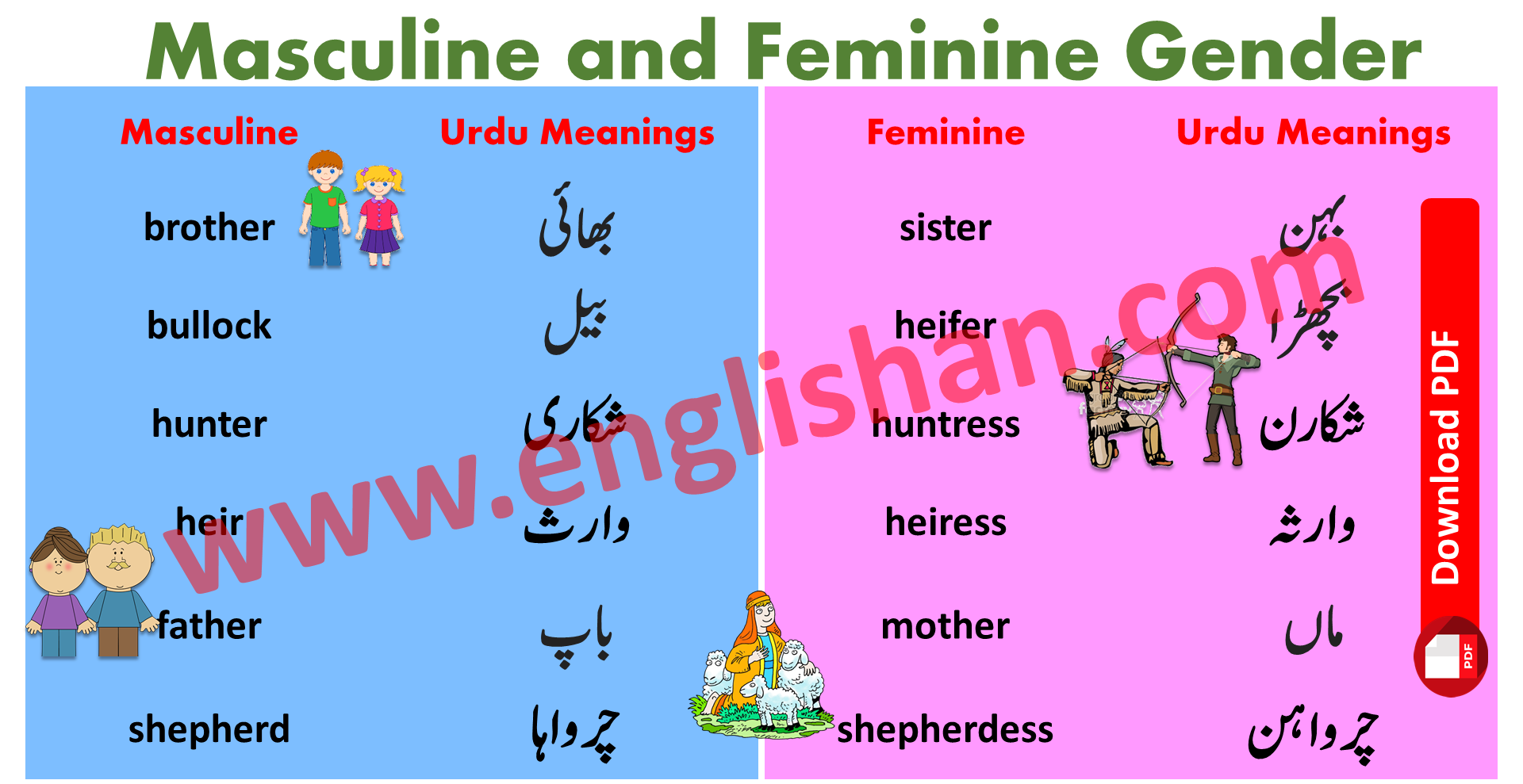 Masculine And Feminine Gender Examples And List In