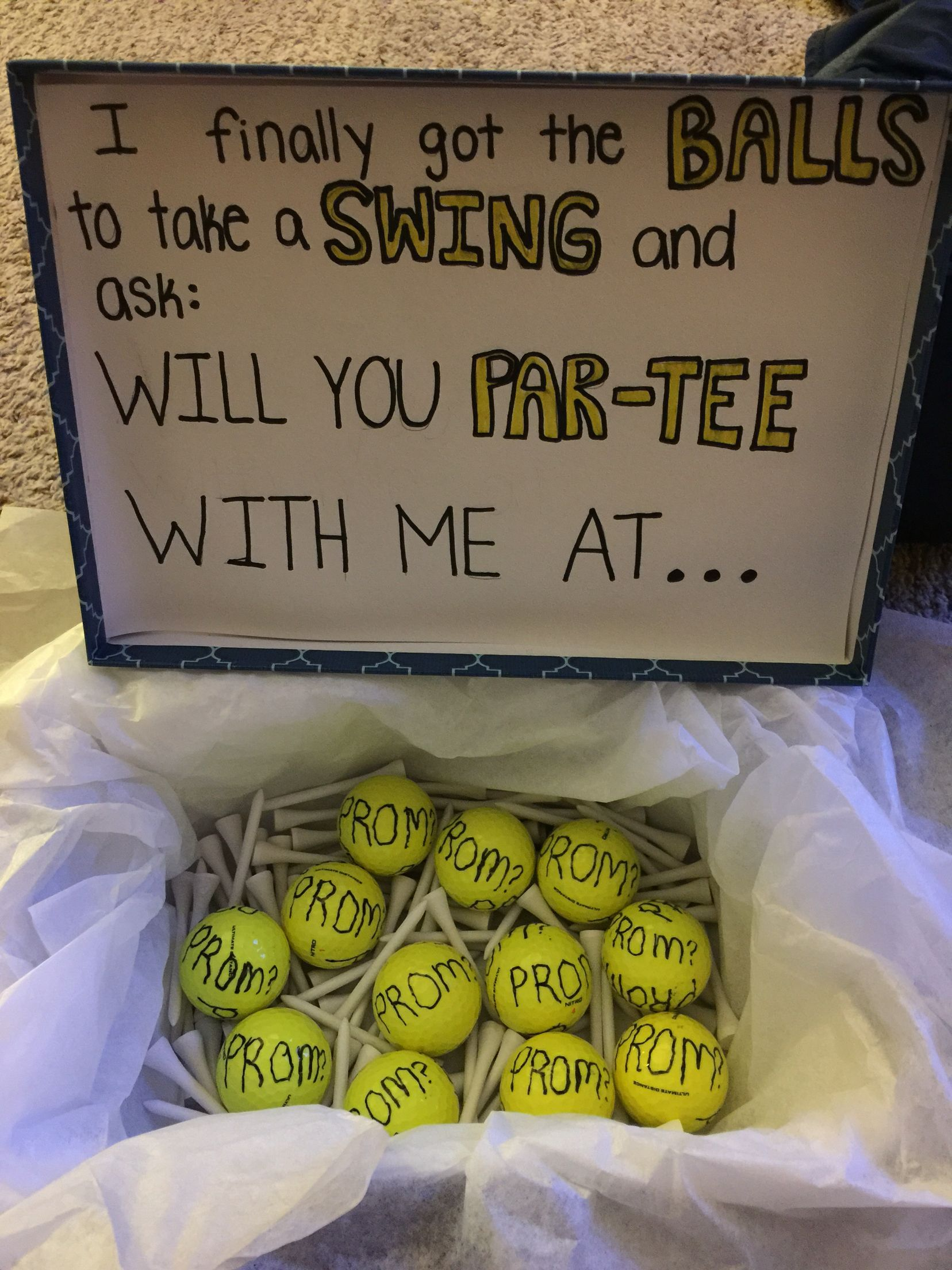 Promposal For Boyfriends Golf Prom Funny Ideas Promposalideas Homecoming Proposal Cute Prom Proposals Promposal