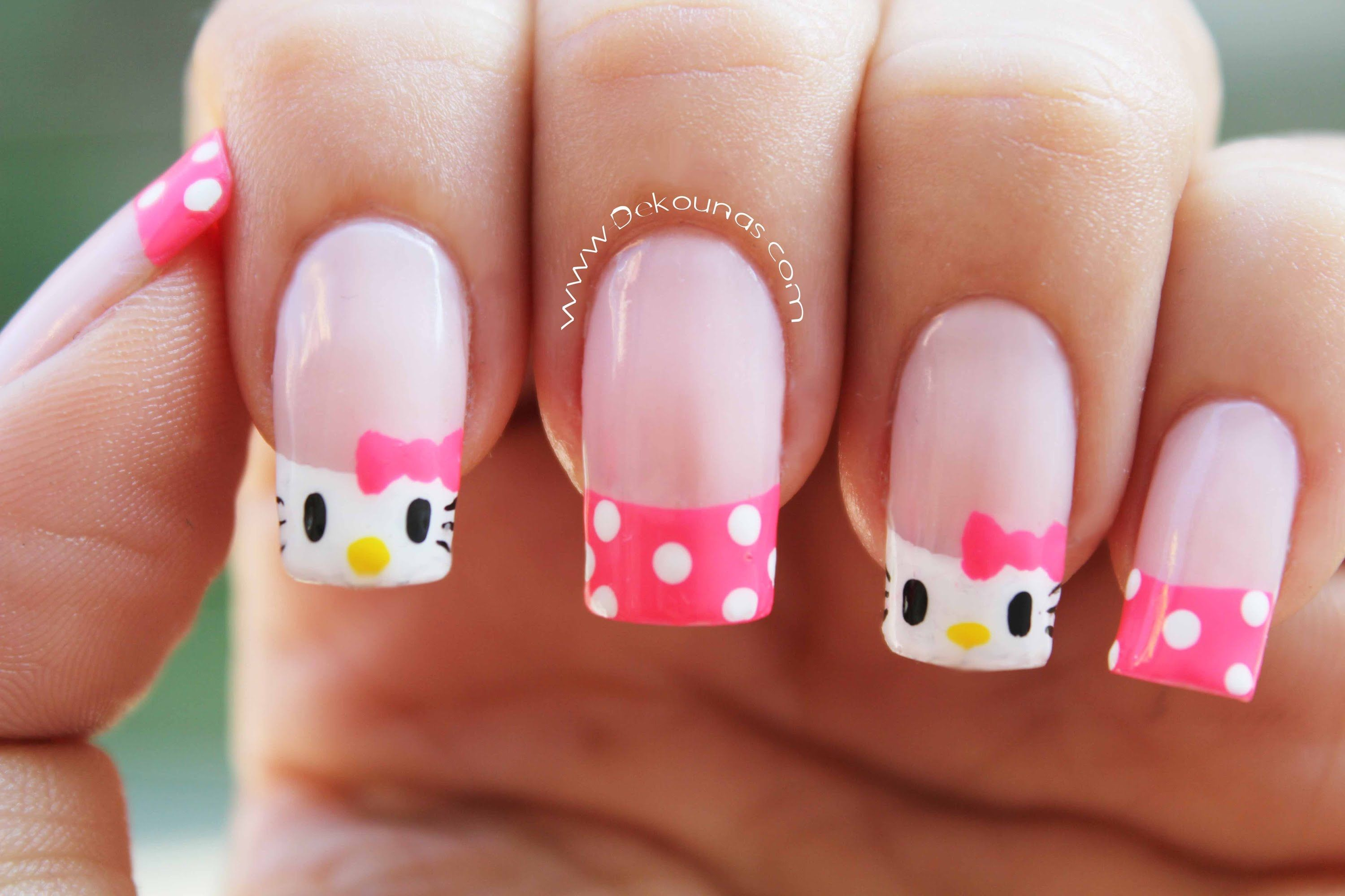 Decoración de uñas Hello Kitty - Hello Kitty nail art | Uñas ...