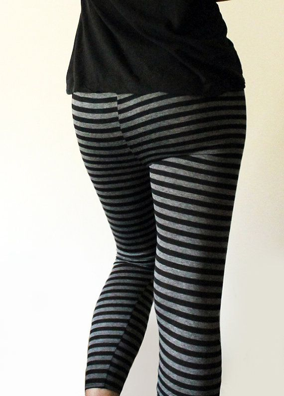 bef061109440a Black and grey striped leggings | Things to Wear | Striped leggings ...
