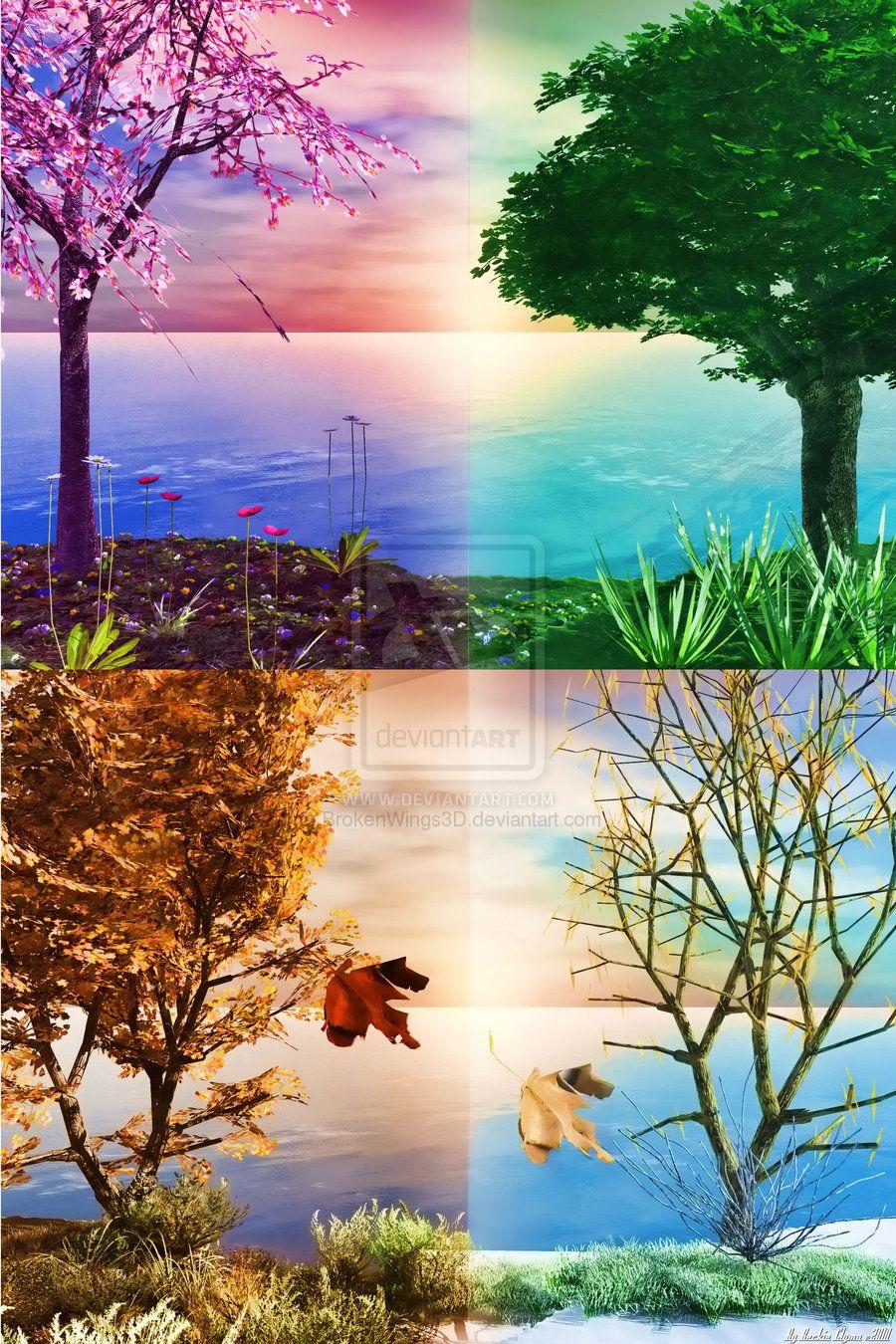 Nature Seasons By Brokenwings3d On Deviantart Live Wallpapers Four Seasons Wallpaper