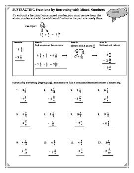 Subtracting Fractions by Borrowing with Mixed Numbers Worksheet ...