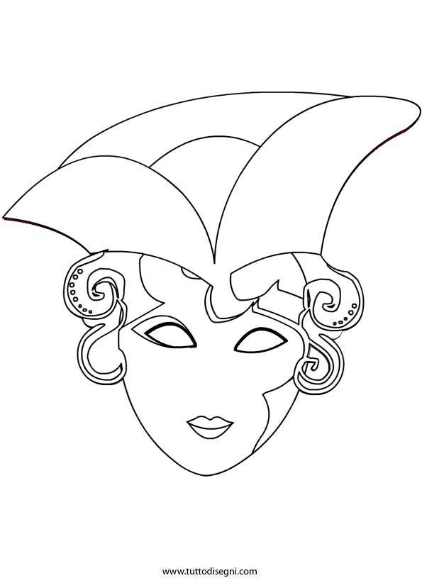 Maschera veneziana da colorare for Immagini maschere carnevale da colorare