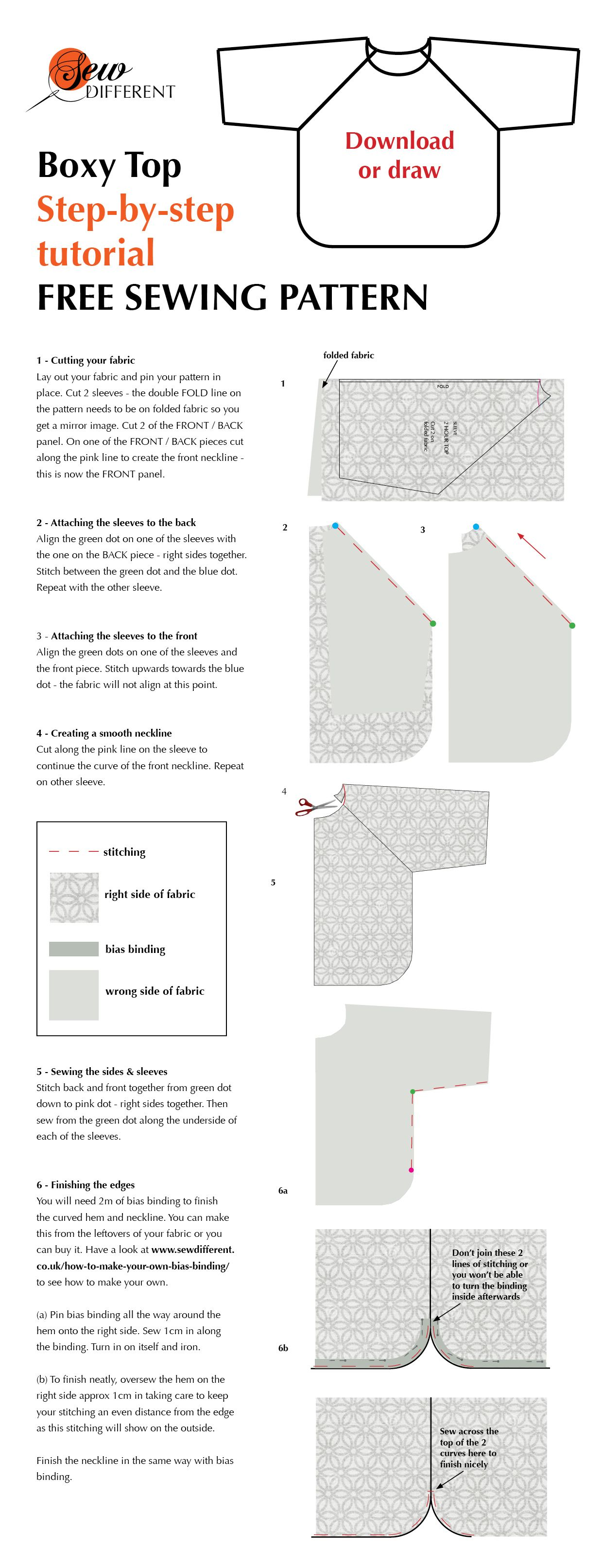 Boxy Top Free Sewing Pattern From Sew Different. It Says