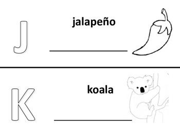 Spanish alphabet book pages letters j and k, Spanish