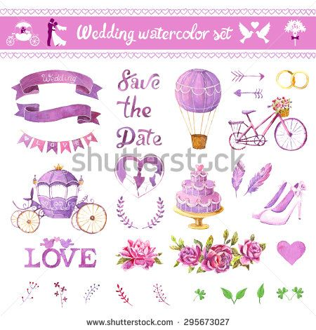 Watercolor Vector Set Love Design Elements Isolated Save The