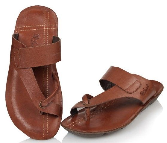 Genuine leather slippers male toe covering slippers summer