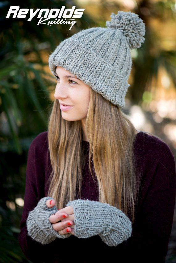 PDF Knitting Pattern - Ribbed Beanie & Gloves - Winter Bobble Hat ...