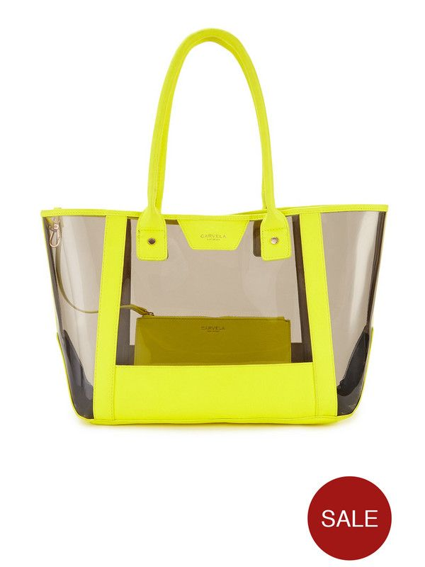 Carvela Jelly Beach Bag - Yellow | very.co.uk | PVC Beach bags ...