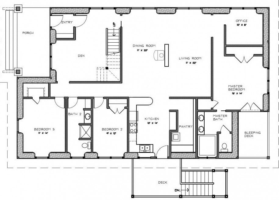good 4 bedroom house plans with front porch #2: Luxury \n Small House Blueprints [ Two Bedroom House Plans Front Porch  Sleeping Deck 915x657
