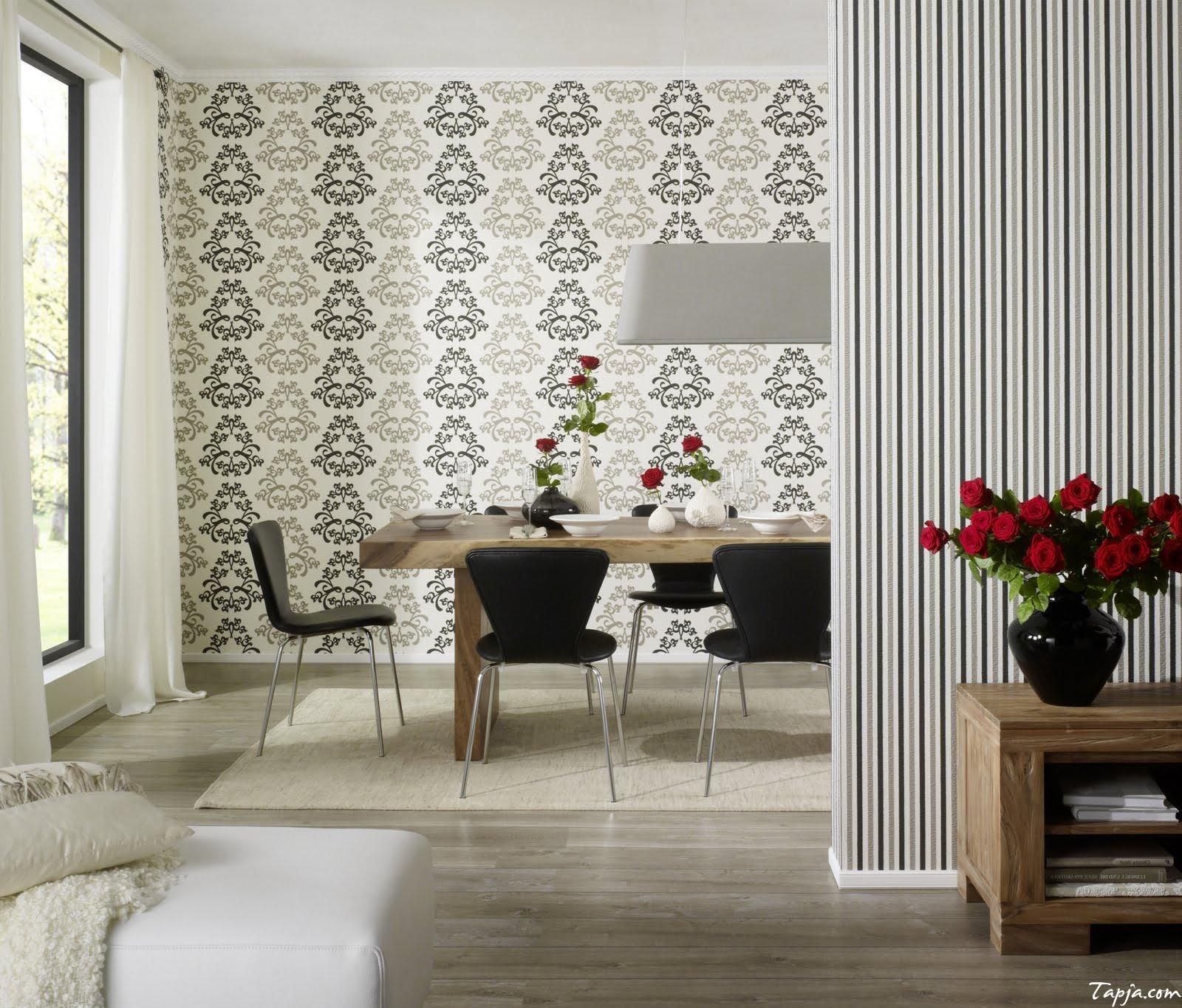 Classy Dining Room Interior Decorating With Wallpaper As Well Big ...