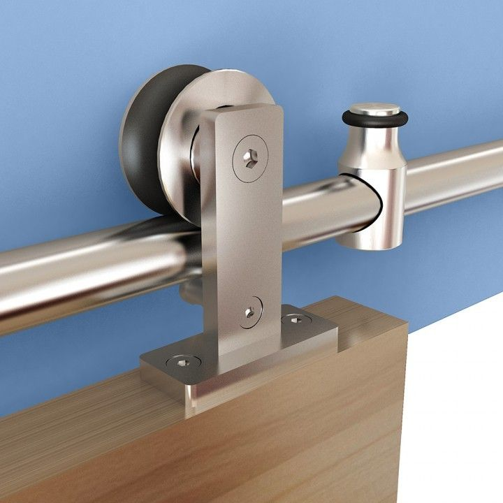 Rolling Barn Door Hardware Kit, Stainless Steel, Top Mount For Wood Doors