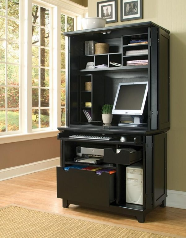 small home office design ideas black computer armoire shelves file drawers - Small Home Office Design Ideas Black Computer Armoire Shelves File