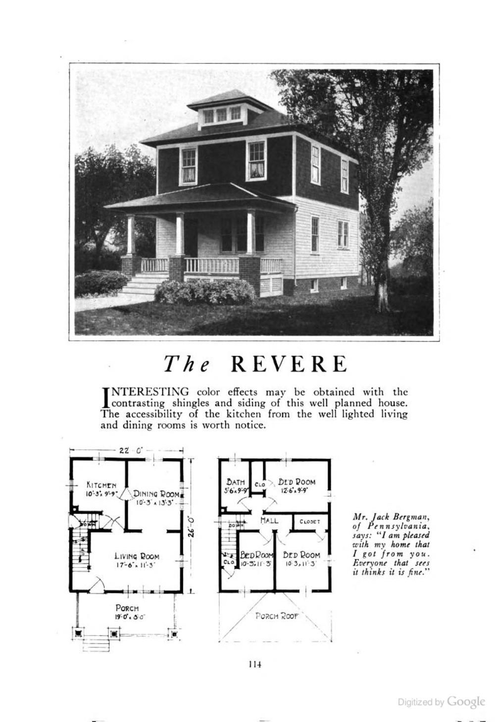 The Revere An American Foursquare Kit House House Plan Homes