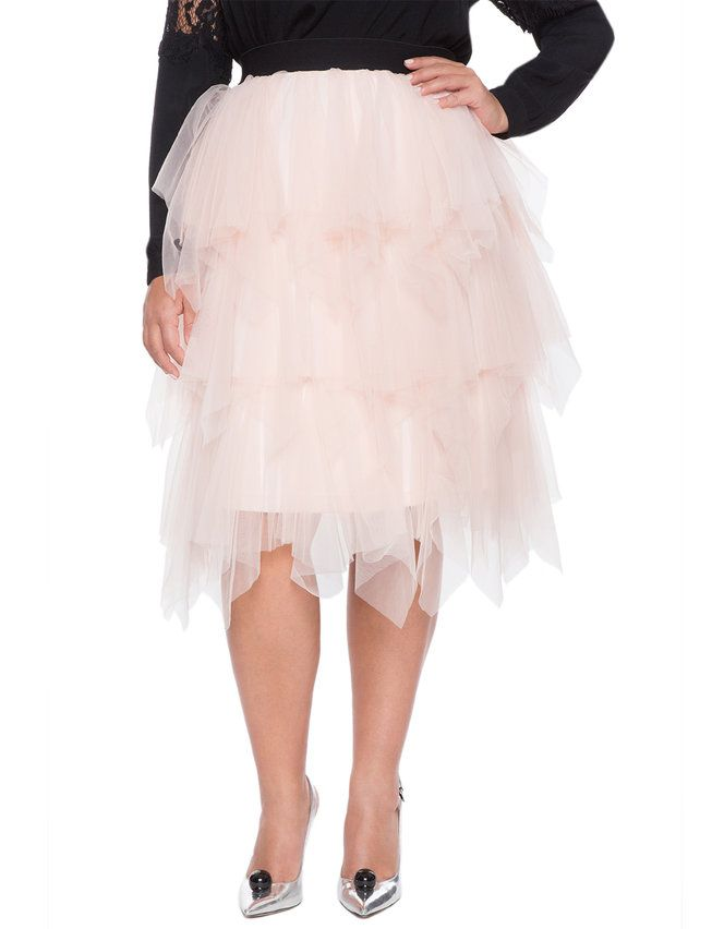 bff5a219a9d Studio Layered Tulle Midi Skirt from eloquii.com