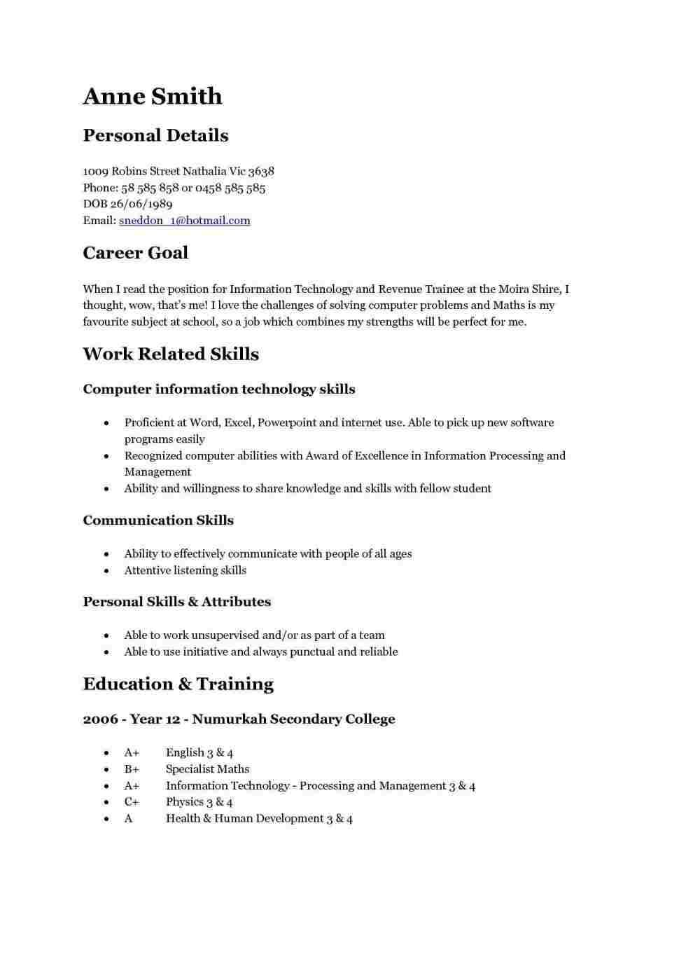 15 Year Olds Resume Examples Student Resume Good Resume Examples